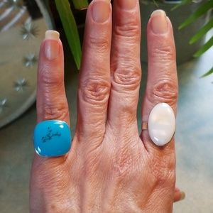 PR.OF VTG.925 RINGS MEX.1TURQUOISE/1 MOP.SUPER SET